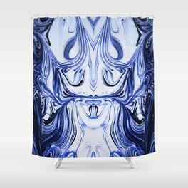 Blue Oil Gestalt Abstract I Shower Curtain