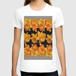 GOLDEN DAFFODILS GARDEN IN GREY-BLACK ART DESIGN T-shirt