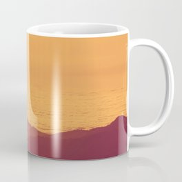 Monochrome Ombre Sunset Purple Orange Hues Cabin House by the Ocean Cliffs Coffee Mug