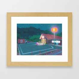 Rock Tunnel Reststop - Kanto in real life Framed Art Print