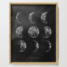 Moon Phases Pencil Drawing Serving Tray