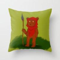 ewok Throw Pillows featuring Ewok by Delucienne Maekerr