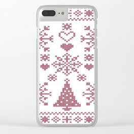 Christmas Cross Stitch Embroidery Sampler Pink And White Clear iPhone Case
