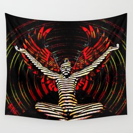 0395s-PDJ Sensual Angel with Red Wings Woman Empowered as Succubus Wall Tapestry