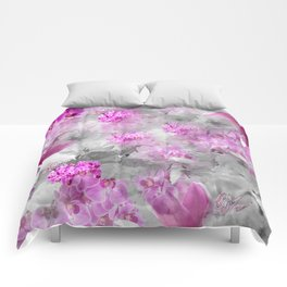 CHERRY BLOSSOMS ORCHIDS AND MAGNOLIA IMPRESSIONS IN PINK GRAY AND WHITE Comforters