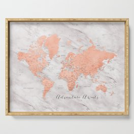 """Adventure awaits world map in rose gold and marble, """"Janine"""" Serving Tray"""