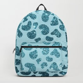 Turquoise teal blue glitter gradient animal pattern Backpack