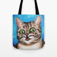 lil bub Tote Bags featuring Lil Bub - Cats with Moustaches by Megan Mars