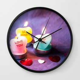 Valentines Candles Photography Print Wall Clock