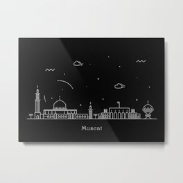 Muscat Minimal Nightscape / Skyline Drawing Metal Print