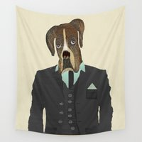 boxer Wall Tapestries featuring mr boxer  by bri.buckley