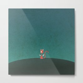 Small winged polka-dotted red cat Metal Print