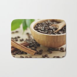 Still life of bamboo shell with fine Arabica coffee as kitchens Bath Mat
