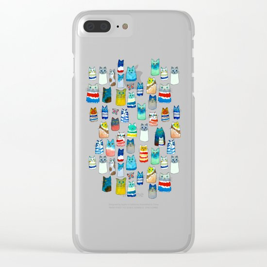 Lots of Watercolor Kitty Cats Clear iPhone Case