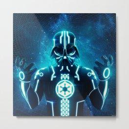 Tron Vader Blue Metal Print