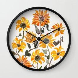 Sunflower Watercolor – Yellow & Black Palette Wall Clock