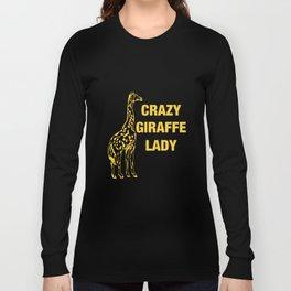 Crazy Giraffe Lady animals yellow shirts mens and womens farm Long Sleeve T-shirt