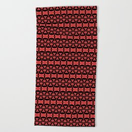 Dividers 02 in Red over Black Beach Towel