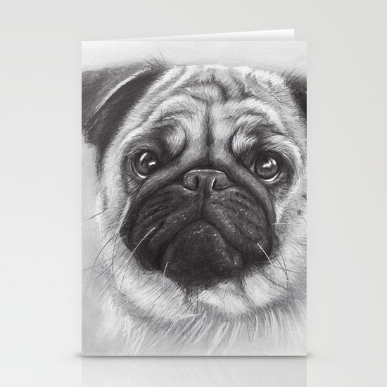 Cute Pug Dog Animal Pugs Portrait Stationery Cards