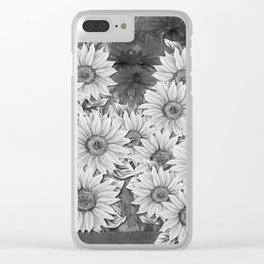 Watercolor Sunflower Pattern (Black and White) Clear iPhone Case