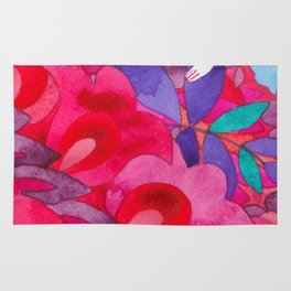 Princess of the flowers in pink ornament Rug