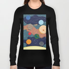 Offset Solar System Long Sleeve T-shirt