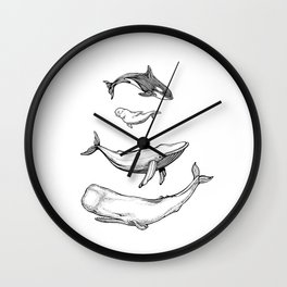 Whales are friends Wall Clock