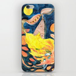 gold, Yellow and blue mermaid iPhone Skin