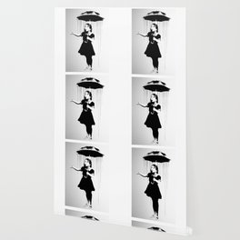Banksy, Nola, Girl with umbrella, Banksy poster bw Wallpaper