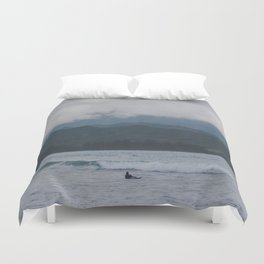 Lone Surfer - Hanalei Bay - Kauai, Hawaii Duvet Cover
