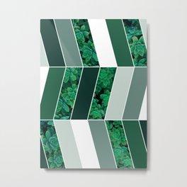 Green Herringbone #society6 #green #succulent Metal Print