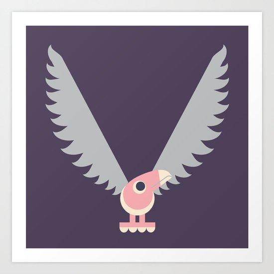 Letter V // Animal Alphabet // Vulture Monogram Art Print