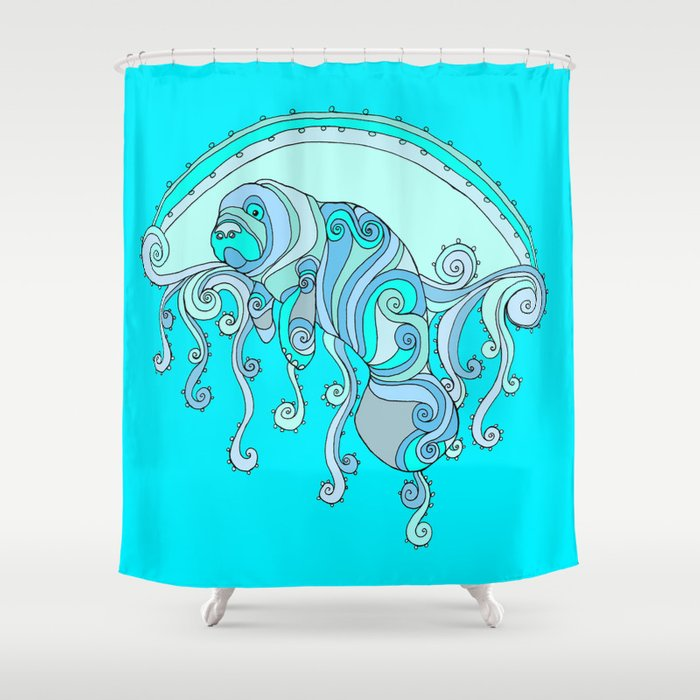 Peace Love Manatee Shower Curtain