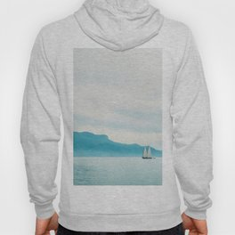 Modern Minimalist Landscape Ocean Pastel Blue Mountains With White Sail Boat Hoody