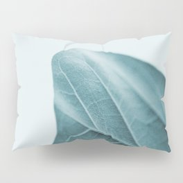 Teal Plant Leaves Pillow Sham