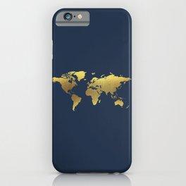 Golden World Map iPhone Case