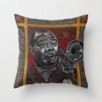 louis armstrong Throw Pillows featuring Louis Armstrong by Ray Stephenson