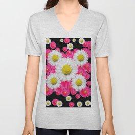 Festive Pink Gerbera & White Daisy Flowers Black Patterns Art Unisex V-Neck