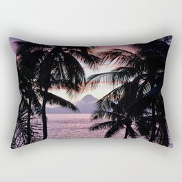 Pink Tahiti Sunset Over Moorea Rectangular Pillow
