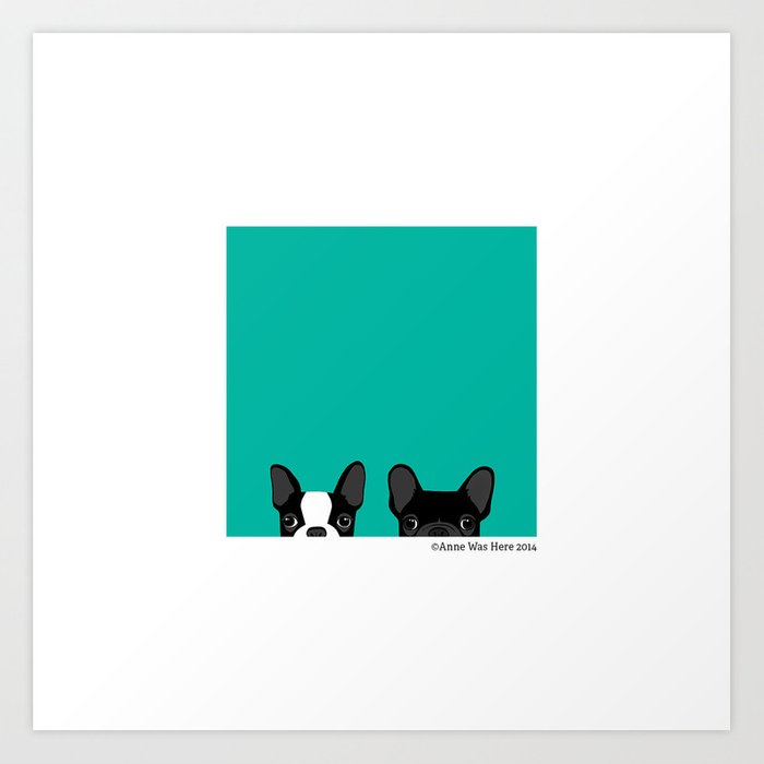 Boston Terrier and French Bulldog Art Print