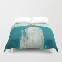 black and gold Duvet Covers featuring The Whale  by Terry Fan