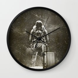 Space Traveller sepia Wall Clock