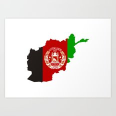 afghanistan flag map Art Print