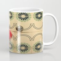 bathroom Mugs featuring the vintage bathroom by Angela Bruno