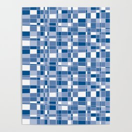Mod Gingham - Blue Poster