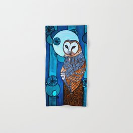Barn Owl Art Nouveau Panel in blue Hand & Bath Towel