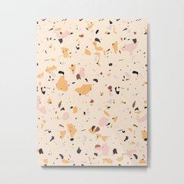 Beige color terrazzo tile Metal Print