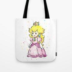 Princess Peach Mario Watercolor Game Art Tote Bag