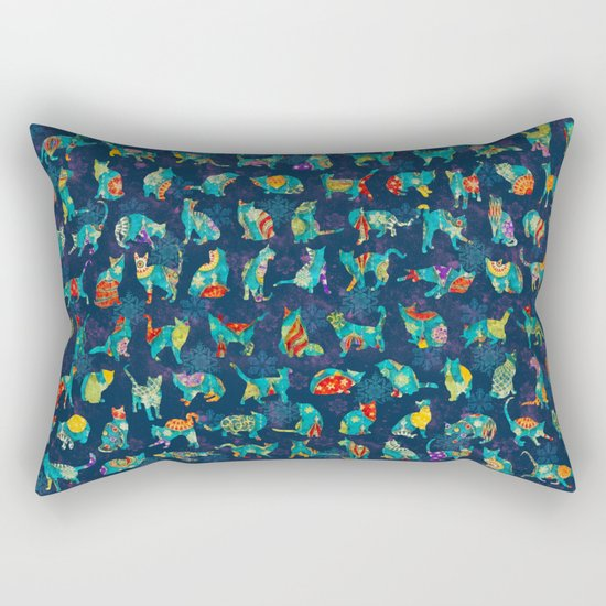 Colorful Christmas cats Rectangular Pillow