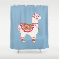 alpaca Shower Curtains featuring The Alpaca by haidishabrina